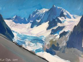 """ Mont-Blanc from Refuge du Couvercle "" by James Hart Dyke (b.1966) © John Mitchell Fine Paintings"