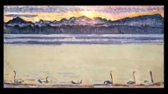 """""""La Rade de Genève et le Mont-Blanc à l'aube"""" (1918) by Ferdinand Hodler © MAH Geneva"""