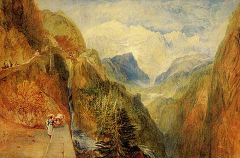 """ Mont Blanc from Fort Roch, Val d'Aosta "" by JMW Turner (1775 - 1851) / © Wikiart"