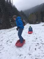 I will sledge - sledging on scant snow! © montblancfamilyfun.com