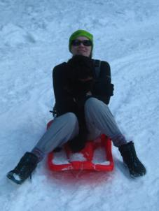 Lily enjoying a sledge © montblancfamilyfun.com