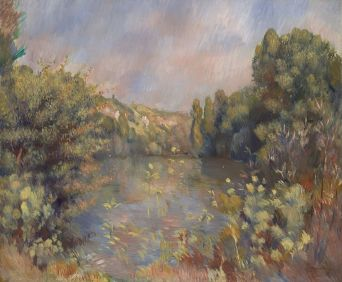 """ Lakeside Landscape "" (near Annecy) by Auguste Renoir © National Gallery"
