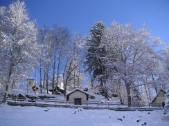 Montée du Calvaire in Megève in wintertime © Megève Mairie